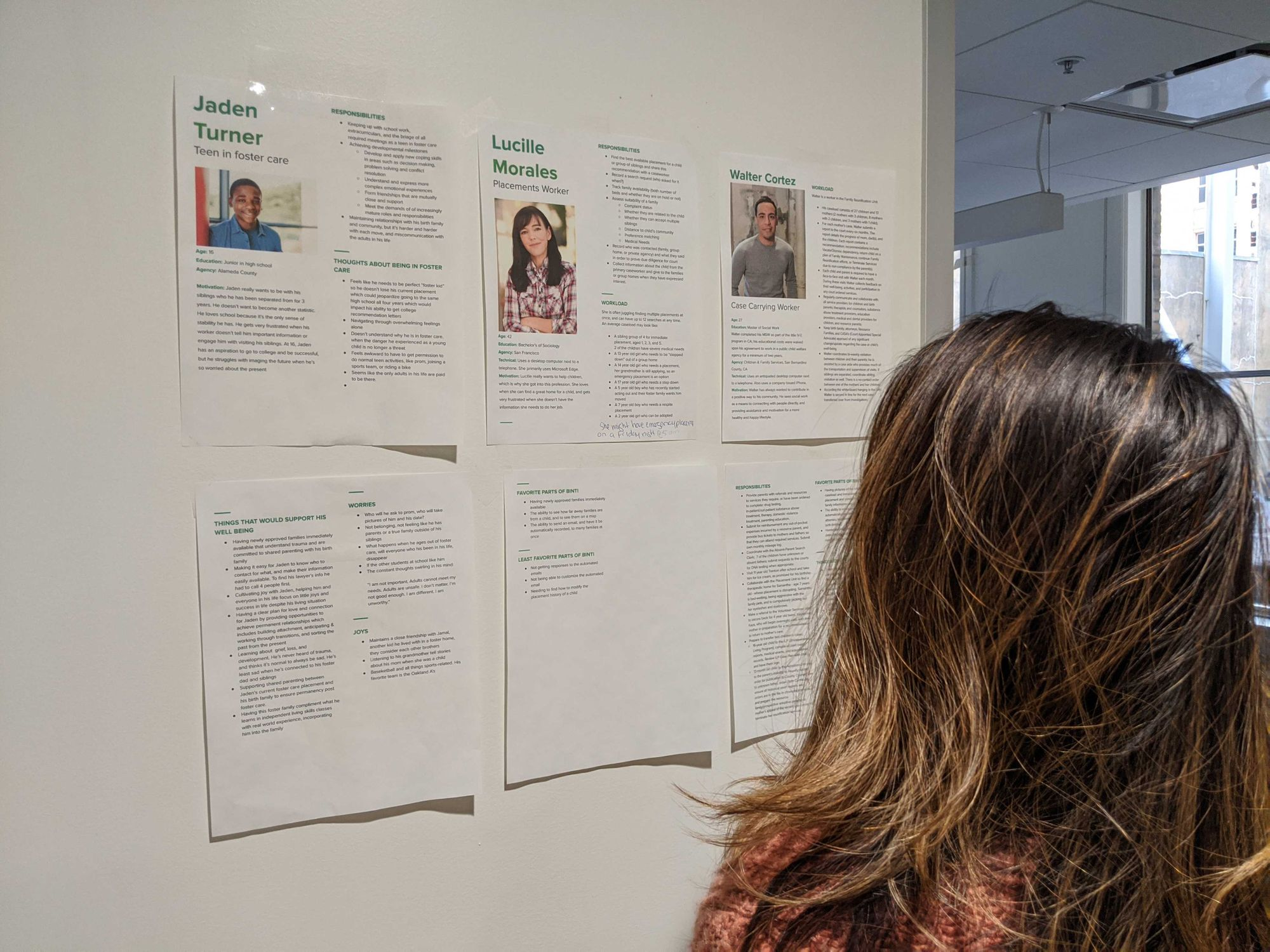 Reading the product personas posted in the Binti Oakland office kitchen